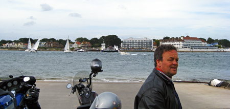 Steve Hawkins with the Poole harbour ferry in the background